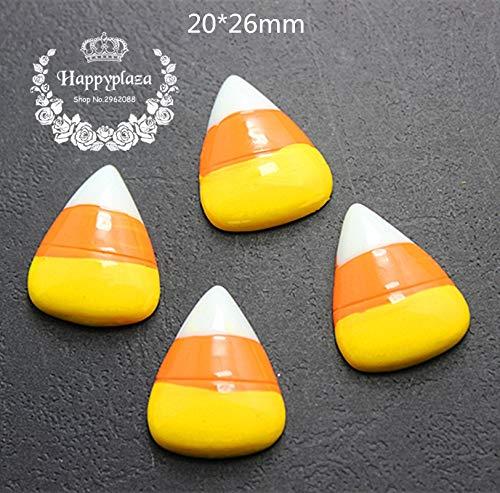 ZAMTAC 10pcs Resin Halloween Candy Corn Flatback Cabochon Miniature Art Supply Decoration Charm Craft -
