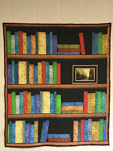 Digital four shelf Bookcase quilt, library quilt, Bookshelf Quilt, Book Shelves, book lovers quilt, wall hanging, lap quilt, 35