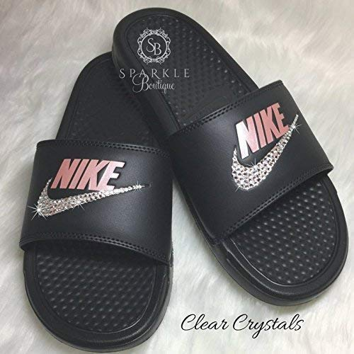cfdd85a46 Amazon.com  Nike Benassi JDI Slides with Crystals Custom Nike Shoe by  SparkleBoutique2U  Handmade