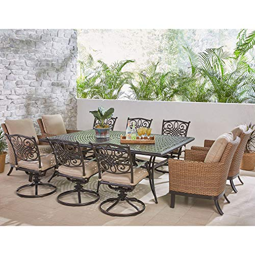 Hanover TRADDN11PCOS4-SW6 Traditions 11-Piece Dining Set in Tan Outdoor Furniture ()