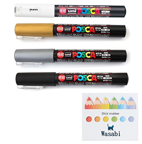 (uni Posca Paint Marker Extra Fine (0.7mm) SPECIAL SET!! - WHITE/GOLD/SILVER/BLACK, Wasabi Sticky note)
