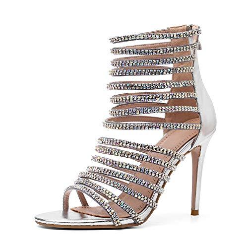 Hinyyrin Womens Tassels Rhinestone Heeled Sandals Wedding Dress White Sandals Stiletto Heel Pearl