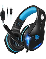 Stynice GH-2 Stereo Gaming Headset for Xbox One PS4 PS5 PC Noise Cancelling Over Ear Gaming Headphones with Mic LED Light Comfortable Earmuffs for Gamer (Black Blue)
