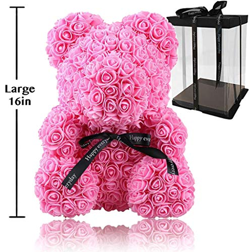 Rose Flower Bear - Fully Assembled 16 inch Hugz Teddy Bear - Over 20 Dozen Artificial Flowers - Best Gift for Mothers Day, Valentines Day, Anniversary, Bridal Showers (Pink) - w/Clear Gift Box (Dozen Pink Love Roses)