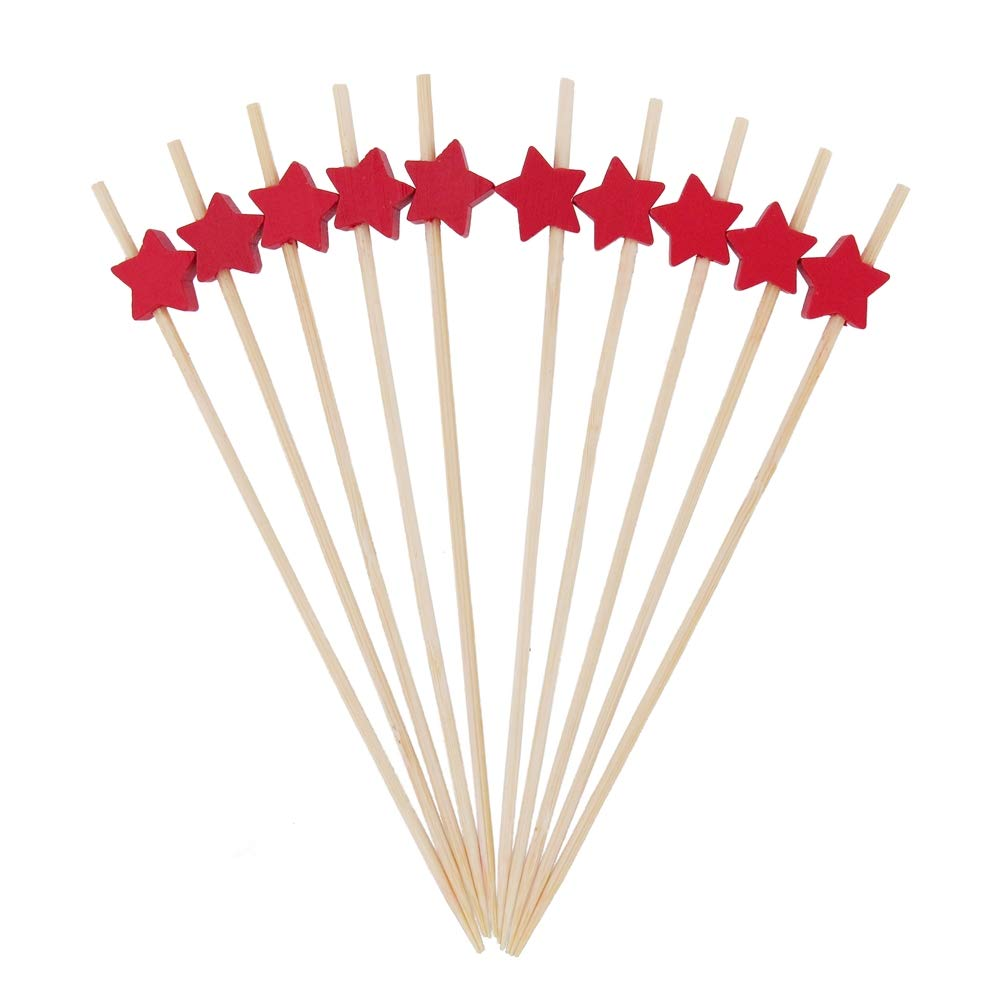 BambooMN 5.9'' Decorative Red Star End Bamboo Cocktail Fruit Sandwich Picks Skewers for Catered Events, Holiday's, Restaurants or Buffets Party Supplies, 300 Pieces