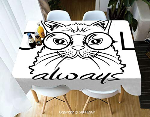 - Picnic Tablecloth Cool Smart Fashion Kitty Image in Big Glasses Hipster Trendy Pet Kids Satire Sketch (55 X 72 inch) Great for Buffet Table, Parties, Holiday Dinner, Wedding & More.Desktop Decoration