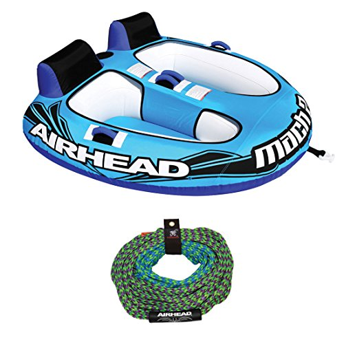 Airhead AHM2-2 Mach 2 Inflatable 2 Rider Water Towable Tube with 50-60' Tow Rope ()