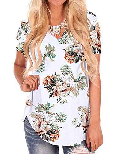 NIASHOT Women's Short Sleeve Loose Casual V-Neck Floral T-Shirt Tops