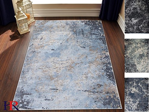 Handcraft Rugs Abstract Modern Splash Design Contemporary Rug. Ice Blue, Cream and Grey Color. Super Plush and Soft. 8 ft. by 10 ft.
