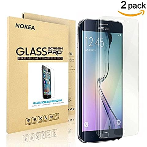 [2 PACK] Samsung Galaxy S6 Edge Screen Protector, NOKEA Full Screen Coverage [9H Hardness] [Crystal Clear] [Easy Bubble-Free Installation] [Scratch Resist] Tempered Glass (for S6 (Pink Camo Otterbox Iphone 4s Case)