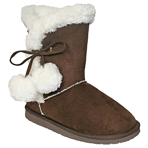 9' Chocolate (Women's 9-inch Microfiber Side Tie Boots Chocolate Size 8)