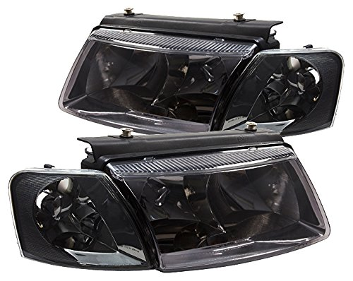 AJP Distributors Headlights Head Lamps Lights with Corner Turn Signal Lamps Euro VAG For VW Passat B5 (Chrome Housing Smoke - Vw Corner Passat 00
