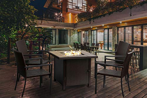 """BALI OUTDOORS 5 Pieces Gas Fire Pit Set 32"""" Propane Gas Fireplace 50,000BTU with 4 Rattan Chairs"""
