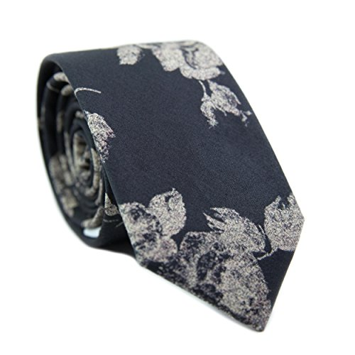 DAZI Men's Skinny Tie Floral Print Cotton Necktie, Great for Weddings, Groom, Groomsmen, Missions, Dances, Gifts. (Nightfall)