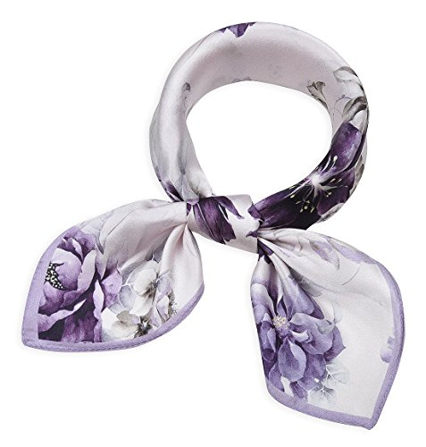 Women's Small Square 100% Real Mulberry Silk Scarf Scarves 21 x 21 inches Byzantium Flowers Lavender (Lavender Silk Scarf)