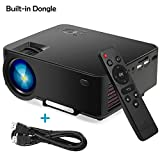 Portable Video Projector,TRONFY TP60T 1500lm LCD+LED Multimedia Home Theater Support 1080P HDMI SD VGA AV DVD PC Game-Box, Native USB Adapter for iPhone,iPad,Android,Surface Phone/Tablet - Black