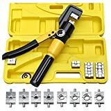 8T Hydraulic Crimper Tool Kit Tube Terminals Lugs Battery Wire Crimping Force