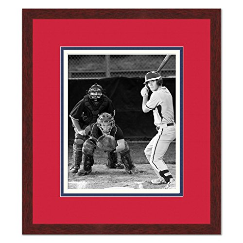 Cleveland Indians Baseball Display (Cleveland Indians Brown Wood Photo Frame Made to Display 8x10 Photos)