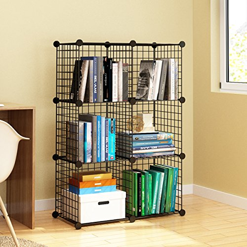 KOUSI Wire Storage Cubes, Wire Grids Cube Closet Organizer Shelf Cabinet Bookcase, Free Standing Modular Shelving Units Closet Organization Systems,6 Black Cubes