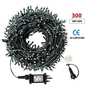 WUJUN 105ft 300 LED Christmas String Lights, End-to-End Plug 8 Modes Memory Function Outdoor Indoor Fairy Lights…