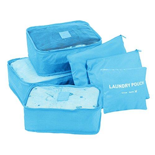 6/Set Wasserdicht Kleidung Kosmetik Aufbewahrungstasche Cube Travel Gepäck Tasche Blau Carry-on