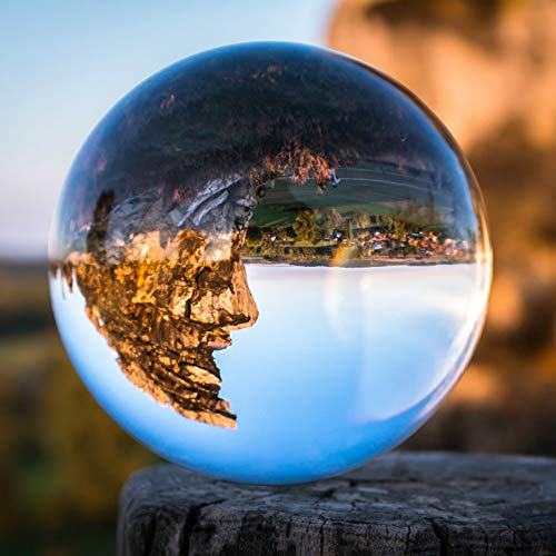 (SunAngel Crystal 3 inch (80mm) Clear Crystal Ball Art Decor K9 Crystal Prop for Photography Decoration - No)