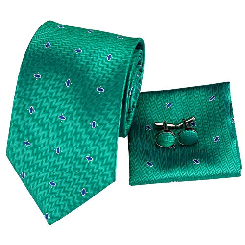 (Hi-Tie New Arrival Mens Novelty Green Tie Necktie Pocket Square and Cufflinks Tie Set Gift Box)