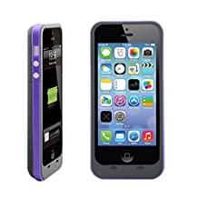 Febe 2500mAh External Backup Power Battery Charger Case Cover For iPhone 5 5S - Purple