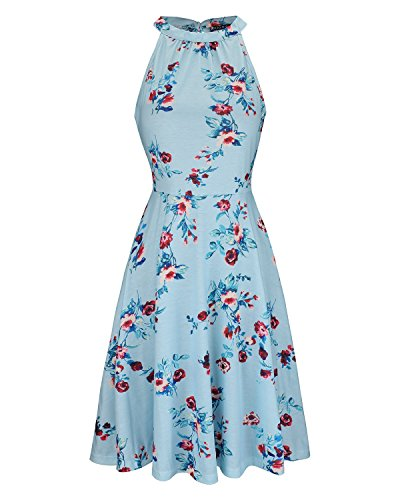OUGES Women's Halter Neck Floral Summer Casual Sundress(Floral-13,M)