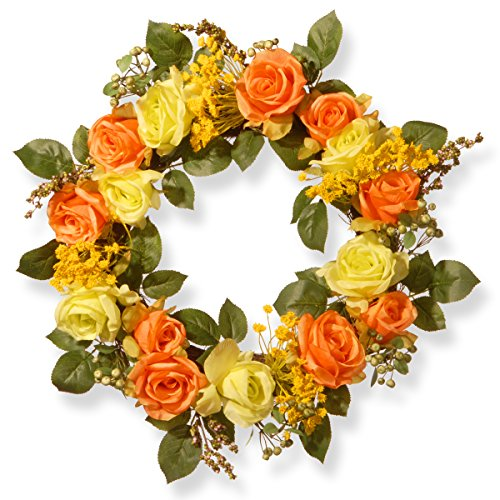 20 Inch Spring Floral Wreath with Orange and Yellow Roses