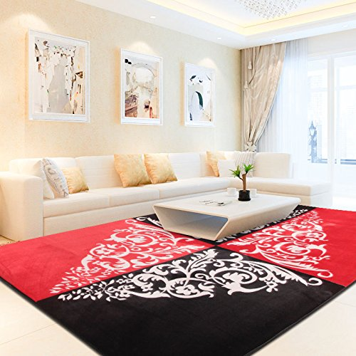 Area Rug Carpet Glows in Dark Modern Large Measures 50 x 78 in Choose Your Colors (Red and Black)