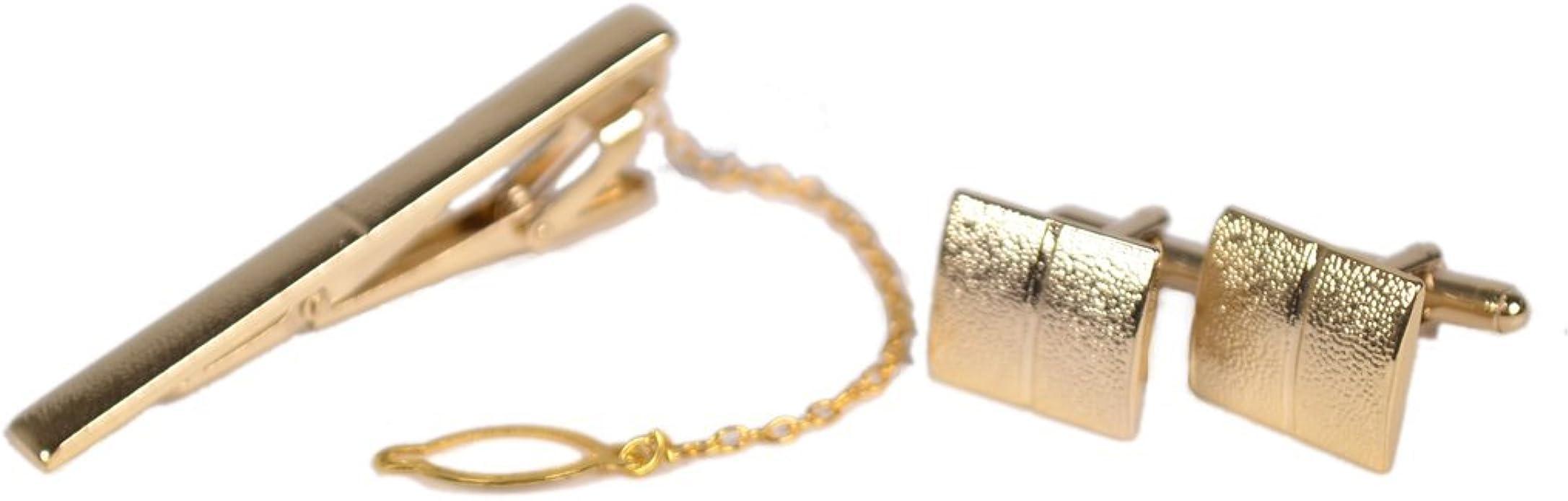 Set de gemelos y pisacorbatas para hombre, de cobre dorado, para camisa de negocios o boda: Amazon.es: Joyería