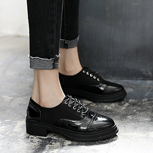 Hoxekle Womens Round Toes Scarpe Stile Britannico / Perforate / Pizzi / Cinghie Incrociate / Vintage Cuciture Oxford Scarpe Nere