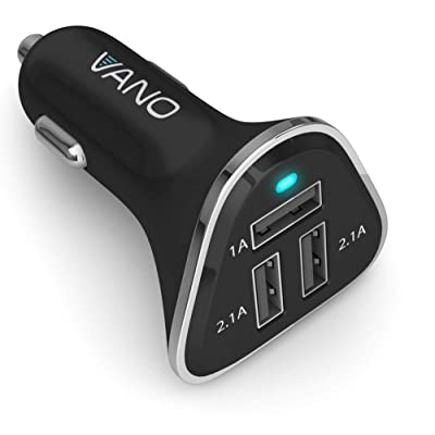 Vano 3 Port USB Car Charger - Cigarette Lighter Socket Adapter - Compatible with iPhone 6 7 8 9 X XR XS 11, Galaxy S10 S9 S8 S7 Note, LG Cell Phones - Black