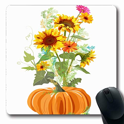 Asparagus Festival - LifeCO Computer Mousepad Draw Green Blossom Autumn Border Orange Pumpkin Yellow Twigs Nature Asparagus Vintage Red Botanical Oblong Shape 7.9 x 9.5 Inches Oblong Gaming Non-Slip Rubber Mouse Pad Mat