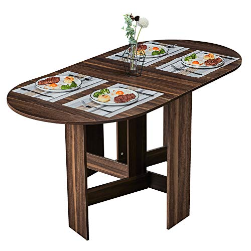Tiptiper Folding Dining Table, Extendable Dinner Table with Wood Grain and Round Edges Design, Space Saving Versatile Kitchen Table