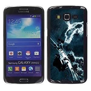 QCASE / Samsung Galaxy Grand 2 SM-G7102 SM-G7105 / apocalipsis cinturón de asteroides arte planeta tierra gris / Delgado Negro Plástico caso cubierta Shell Armor Funda Case Cover
