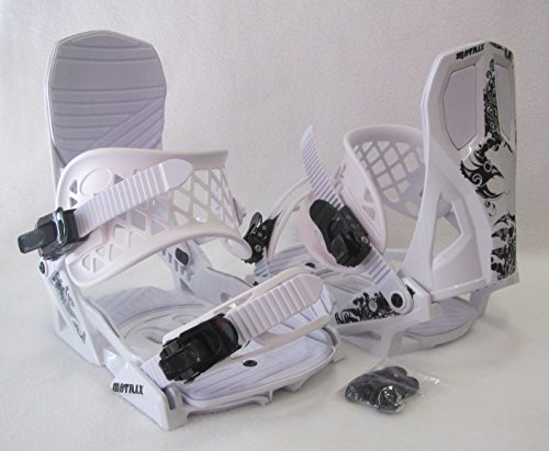 MEN'S M8TRIX SNOWBOARD BINDINGS (4X4 PATTERN) MEDIUM BOOT SIZE: 6-9 (WHITE/BLACK) by M8TRIX