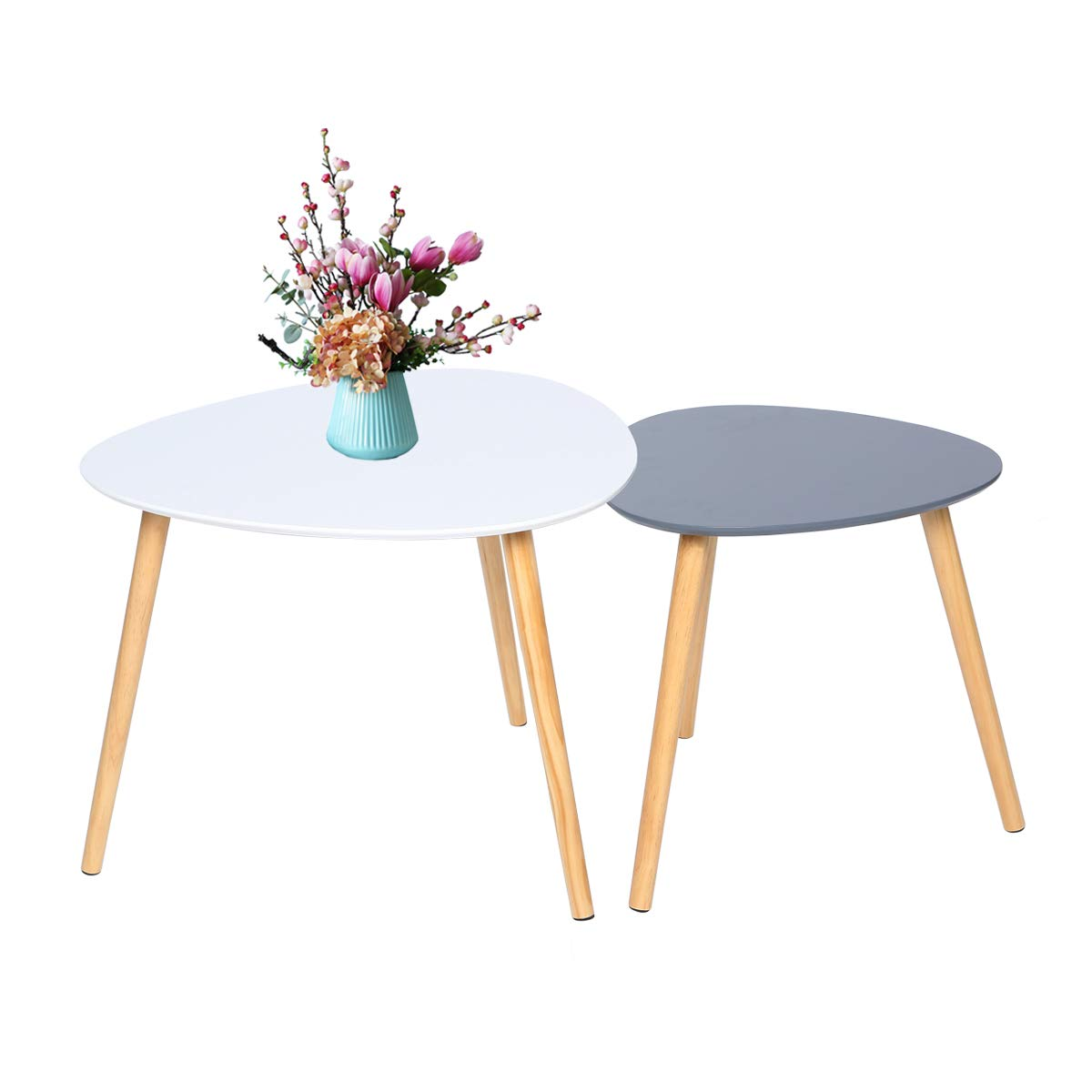 bianco e grigio Tavolino set di 2 tavolini scandinavi tavolino triangolare moderno tavolino per soggiorno balcone