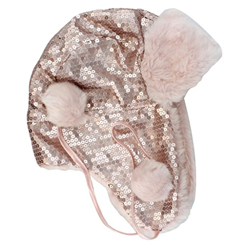 Candie's Pink Sequin Trapper Style Hat w/Pom Poms
