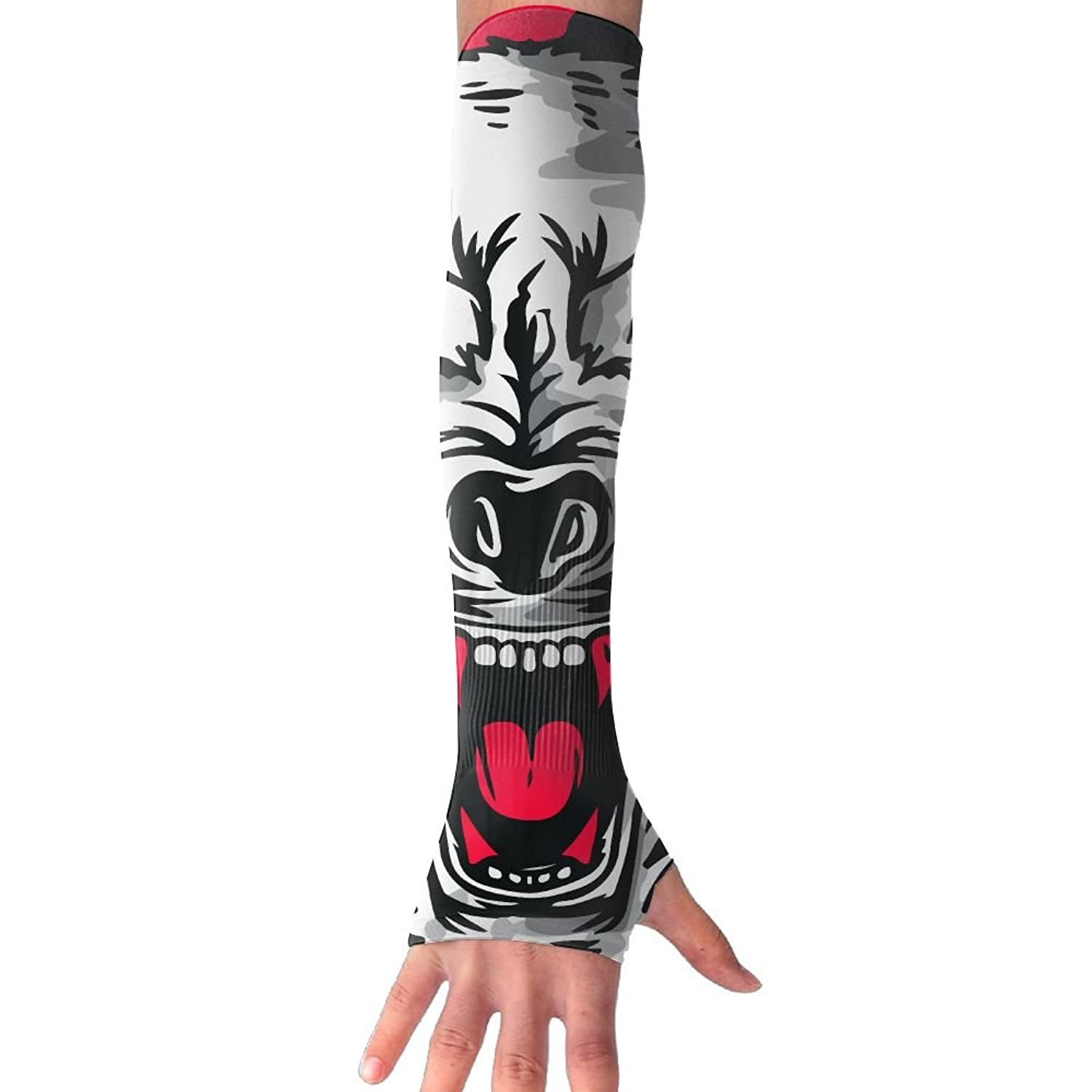 Fierce Vicious Wolf Anti-uv Sun Protection Driving Fingerless Breathable Arm Cover Sleeves Gloves