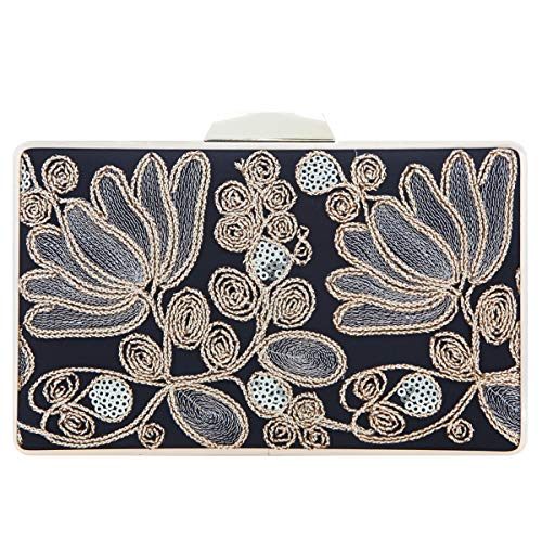 Fawziya Embroidery Wedding Clutch Satin Sequin Evening Bags And Clutches For Women-Black