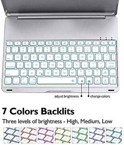 iPad Teclado Funda para iPad 9.7 / iPad 5th Generation/iPad Air, Nuevo F8S 7 Colores con retroiluminación LED Teclado iPad 6th Generation con Cubierta ...