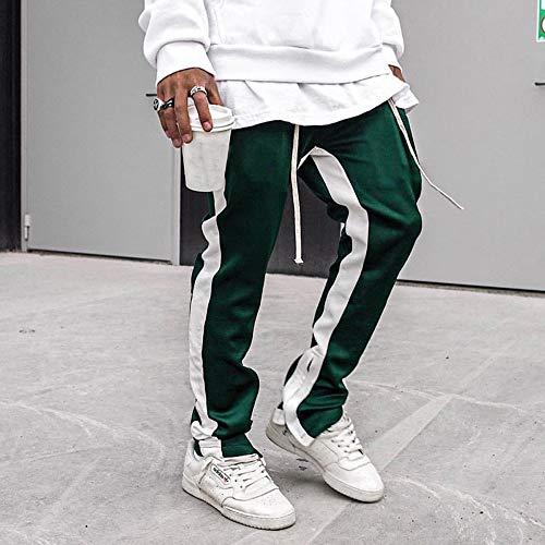 ALIKEEY-Pantalones De Rayas De Los Hombres es De Pantalón De Trabajo Casual De Bolsillo Casual Sport Sport Verde