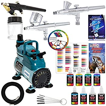 Image of Airbrush Materials 3 Master Airbrush Professional Acrylic Paint Airbrushing System Kit with Powerful Cool Running Air Compressor - 6 U.S. Art Supply Primary Opaque Paint Colors Set - Gravity and Siphon Feed Airbrushes