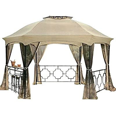 Garden Winds LCM1046BCN-RS Canopy & Netting Set for The Dawson Hexagon Gazebo Rip Lock 350 Replacement Canopy: Garden & Outdoor