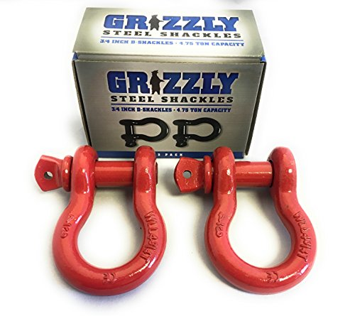 Threaded Shackle - 2 Pack- D Ring Shackles 3/4 INCH – Red – Heavy Duty Forged Steel with 4.75 Ton Capacity – Ideal for Jeeps, ATV's, Trucks to use with Recovery,Towing, Snatch Straps,Snatch Block,Tree Savers
