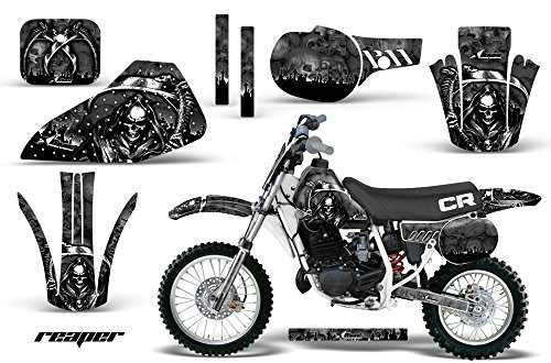 AMR Racing MX Dirt Bike Graphic Kit Sticker Decals with Number Plates Compatible with Honda CR80 1996-2002 - Reaper Black