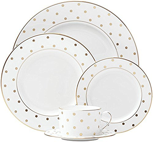 kate spade new york Larabee Dot Gold Dinnerware Set - White - 5 - Spade Kate Hill Todd