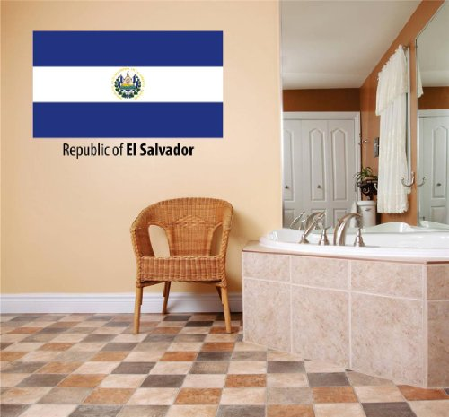 Decals & Stickers : Republic Of El Salvador Flag Country Pride Symbol Sign / Banner Emblem - Home Decor Boys Girls Dorm Room Bedroom Living Room Peel & Stick Picture Art Graphic Design Car Window Text Lettering Mural - Discounted Sale Price - Size : 5 Inches X 20 Inches - 22 Colors Available